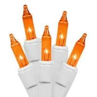 Set of 100 Orange Everglow Steady Burning or Flashing Mini Christmas Lights - White Wire