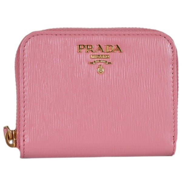 c9ee3e639760 Prada Women's 1MM268 Pink Saffiano Leather Zip Around Coin Purse Wallet  -