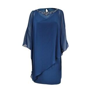 SLNY Women's 2PC V-Neck Jersey Sheath Caplet & Dress - midnight teal