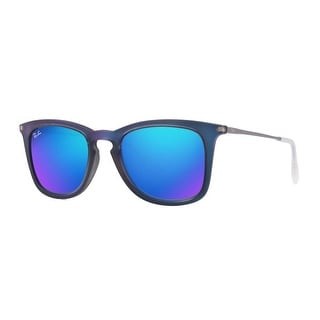 c4a2704b7c1 Shop Ray-Ban Injected Man Sunglass - Shot Blue Rubber Frame Light Green  Mirror Blue Lenses 50Mm Non-Polarized - blue shot - One size - Free  Shipping Today ...