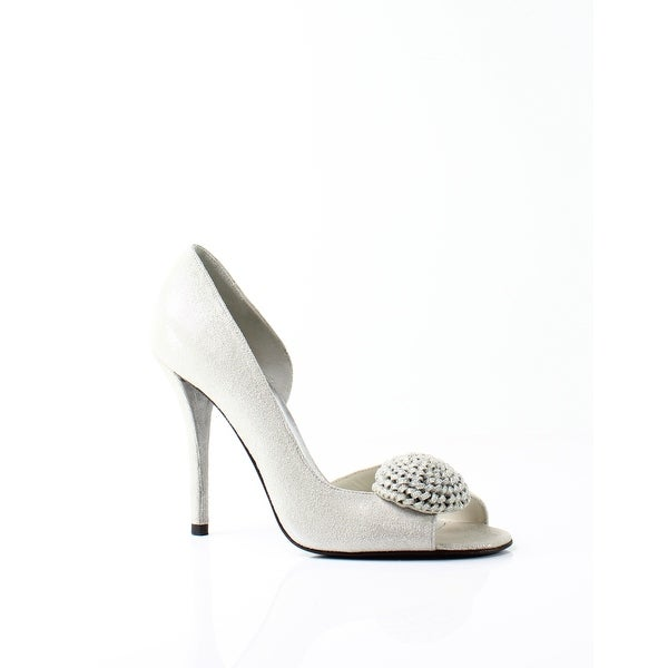 Stuart Weitzman NEW Silver Womens ShoesM Lollipop Peep Toe Pump