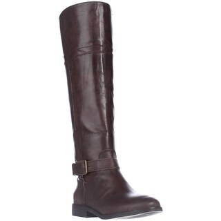 Marc Fisher Aysha Knee-High Riding Boots - Dark Brown Leather