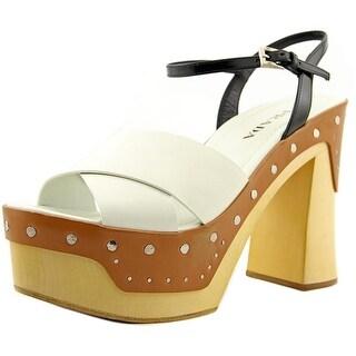 Prada 1Z775F Open Toe Leather Platform Heel