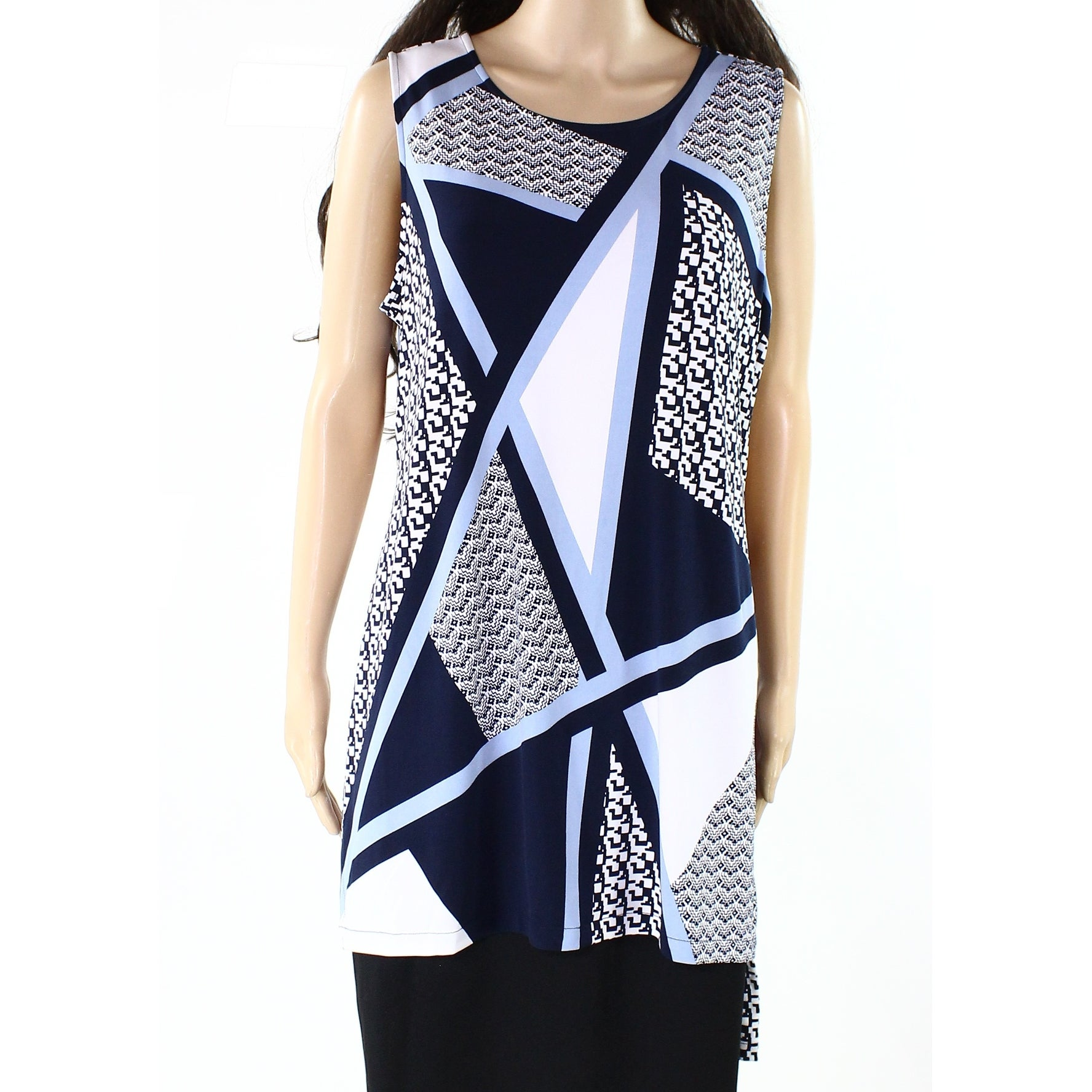 57883d86198 Shop Alfani NEW Blue White Womens Size XL Mixed-Print High-Low Tunic Top -  Free Shipping On Orders Over $45 - Overstock - 21428737