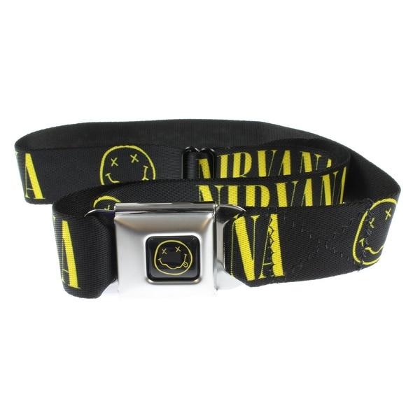 """Nirvana Seatbelt Belt - """"Nirvana"""" Yellow Text w/ Face on Black"""