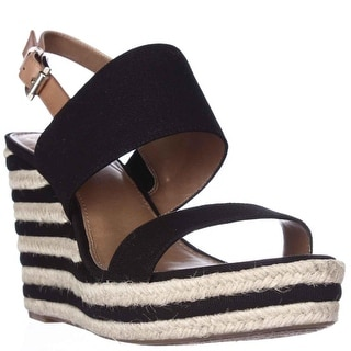 Vince Camuto Loran Espadrille Wedge Slingback Sandals - Black/Tan/Natural