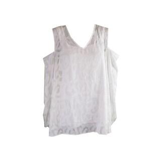 Alfani Plus Size White Textured Cold-Shoulder Blouse 18W