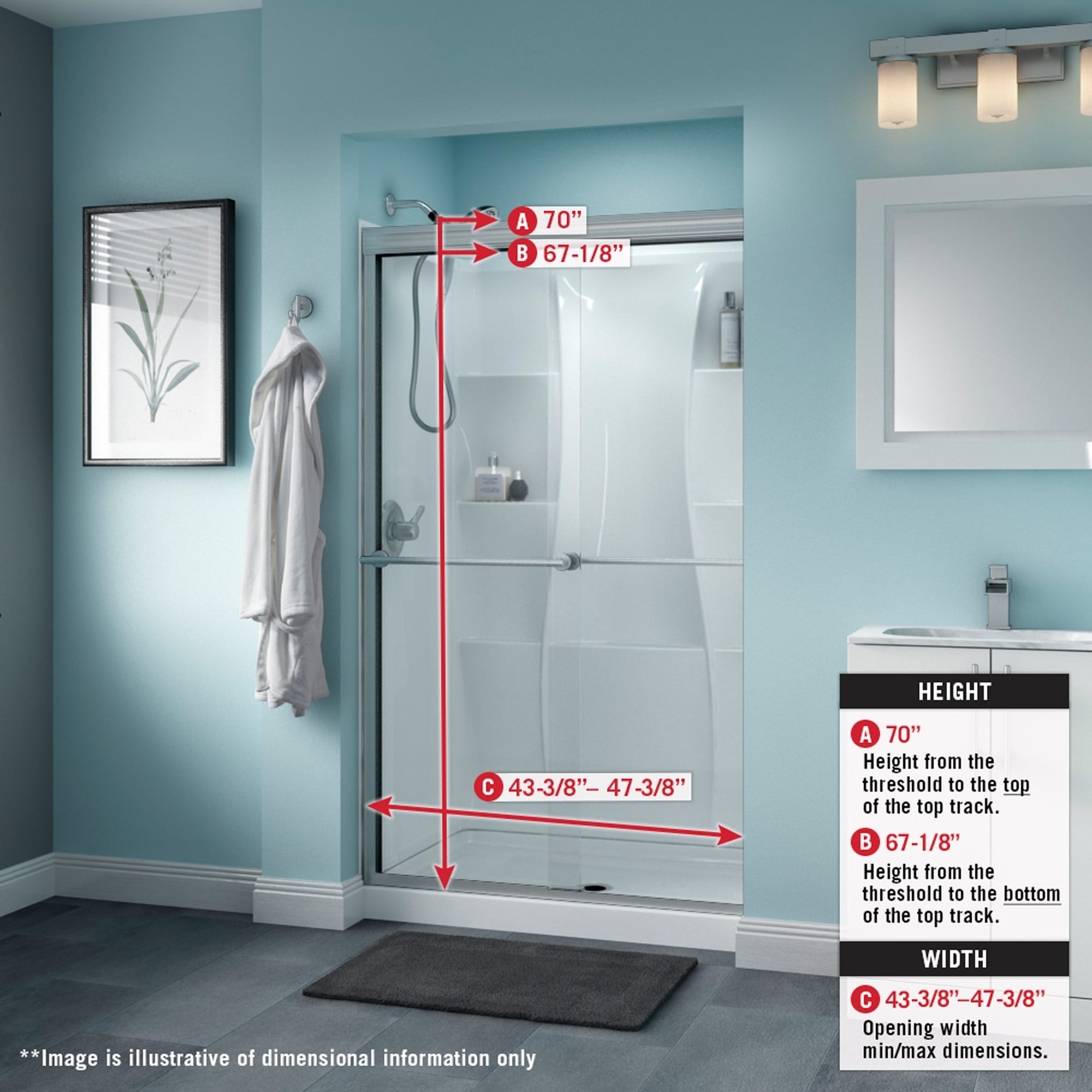 Delta Sd3276453 Trinsic 70 High X 47 3 8 Wide Sliding Semi Frameless Shower Door With Frosted Glass Chrome