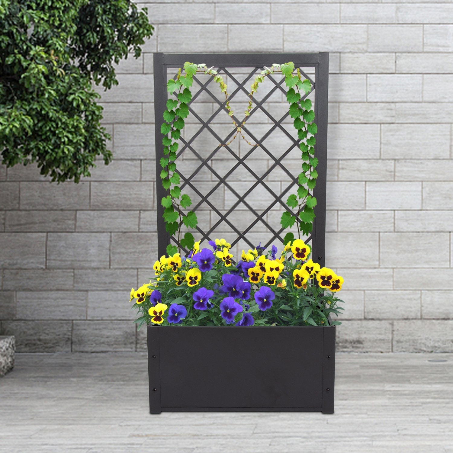 Picture of: Shop Kinbor Metal Raised Bed With Trellis Elevated Garden Planter Box For Yard Patio Free Standing Outdoor Container Bed Overstock 31677550
