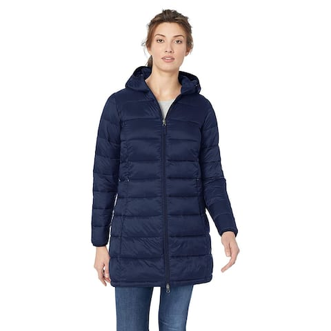 Essentials Women's Lightweight Water-Resistant Packable Puffer Coat, Navy, Medium