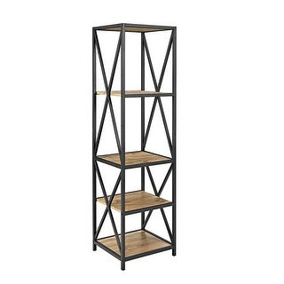 "Delacora WE-BDST18XMW  X-Tower 18"" Wide 4 Shelf Laminate Industrial Shelving Unit"