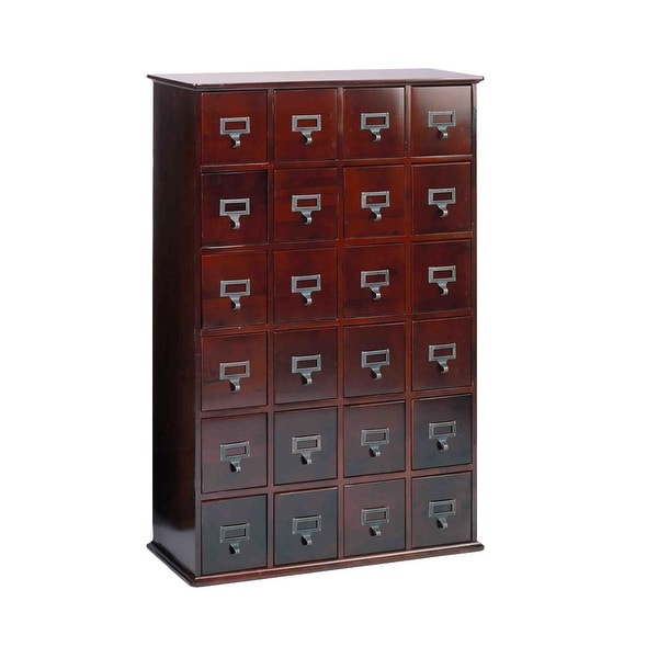 Library Card Catalog Cd Dvd Storage Cabinet 24 Drawer S 456 Discs Cherry 32 In X 40 8 On Free Shipping Today