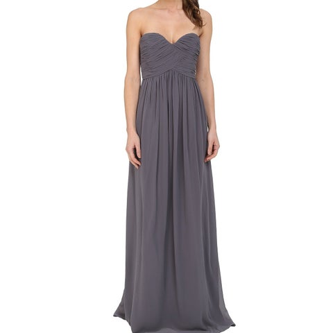 Donna Morgan Gray Charcoal Women Size 16 Gown Strapless Laura Dress