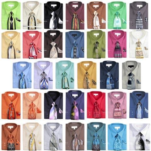 Men's Basic Dress Shirt with a VARYING Print Tie and Hanky Set 4