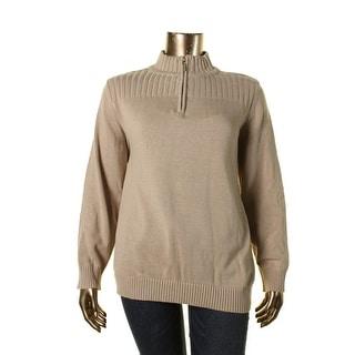 Karen Scott Womens Plus 1/4 Zip Long Sleeves Mock Turtleneck Sweater