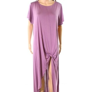 Cupio NEW Purple Womens Size 1X Plus Hi-Low Twist Knot Shirt Dress