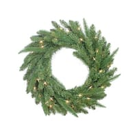 "24"" Pre-Lit PE/PVC Mixed Pine Artificial Christmas Wreath - Clear Lights - green"