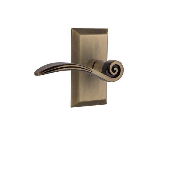 "Nostalgic Warehouse STUSWN_PRV_238_NK_RH Swan Privacy Door Lever Set with Studio Rose for 2-3/8"" Backset Doors"