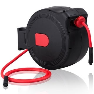 Costway 3/8'' X 100' Retractable Air Hose Reel 1/4'' Inlet 300PSI Auto Rewind Garage Tool