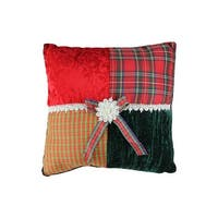 "15.5"" Square Textured Tartan Plaid Velvet Decorative Christmas Throw Pillow - RED"