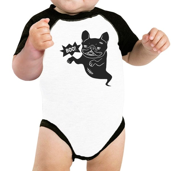 Boo French Bulldog Baseball Shirt For Baby Funny Halloween Bodysuit
