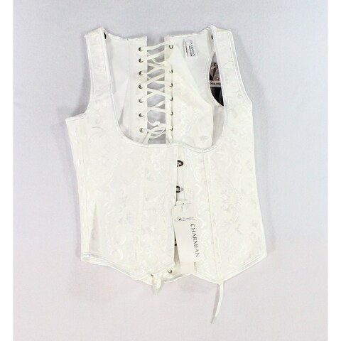Charmian White Womens Size Medium M Hook & Eye Corset And Bustier