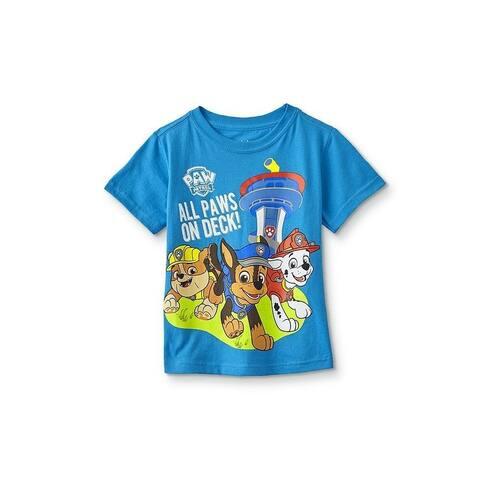 Paw Patrol Little Boys Blue Cartoon Inspired Print Short Sleeve T-Shirt