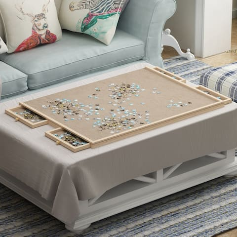 Wooden Portable Jigsaw Puzzle Board With 4 Storage Drawers