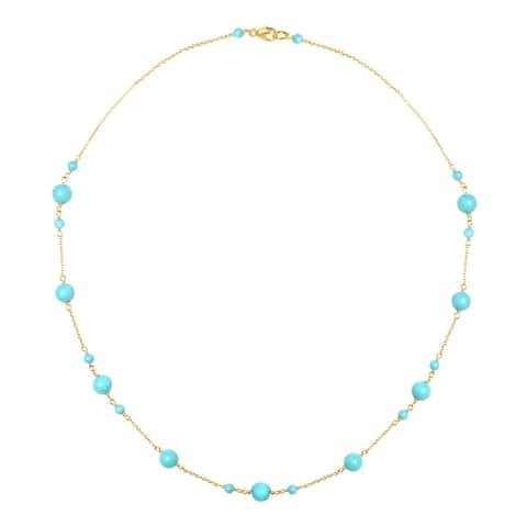 "14K Turquoise Station Necklace 17"""