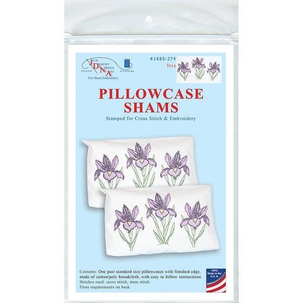 Stamped Pillowcase Shams 2/Pkg-Iris