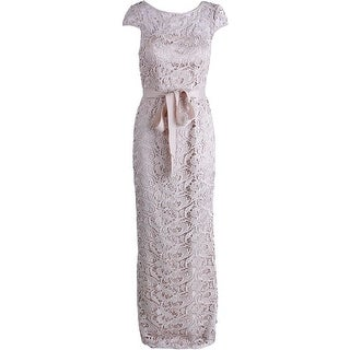 Adrianna Papell Womens Crochet Prom Evening Dress