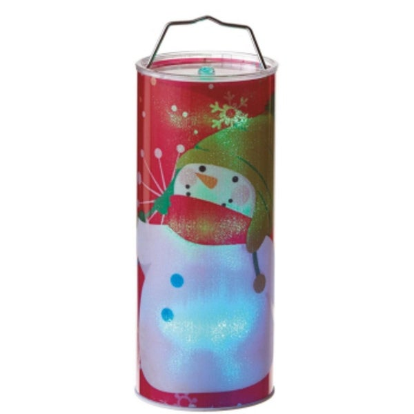 "12"" Battery Operated Transparent Red Waving Snowman LED Color Changing Lighted Hanging Christmas Lantern"