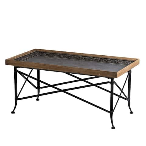 """43.5"""" Black and Brown Classic Vintage Coffee Table"""