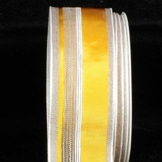"""Yellow Striped Linen French Wired Craft Ribbon 1.5"""" x 22 Yards"""