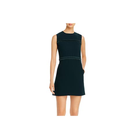 Donna Karan Womens Shift Dress Pintuck Office - Emerald