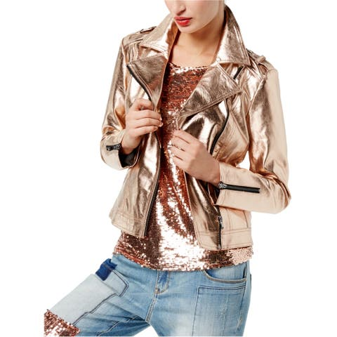 I-N-C Womens Faux-Leather Motorcycle Jacket, metallic, Small