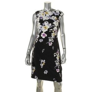 Lauren Ralph Lauren Womens Petites Casual Dress Matte Jersey Floral Print