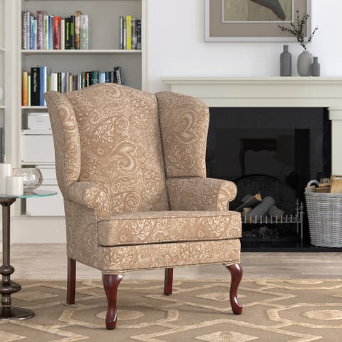 Elaina Cream Paisley Print Wingback Accent Chair by Greyson Living - See Product Description - See Product Description