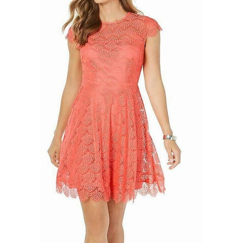 Kensie Womens Dress A-Line Lace Fit & Flare Open Back
