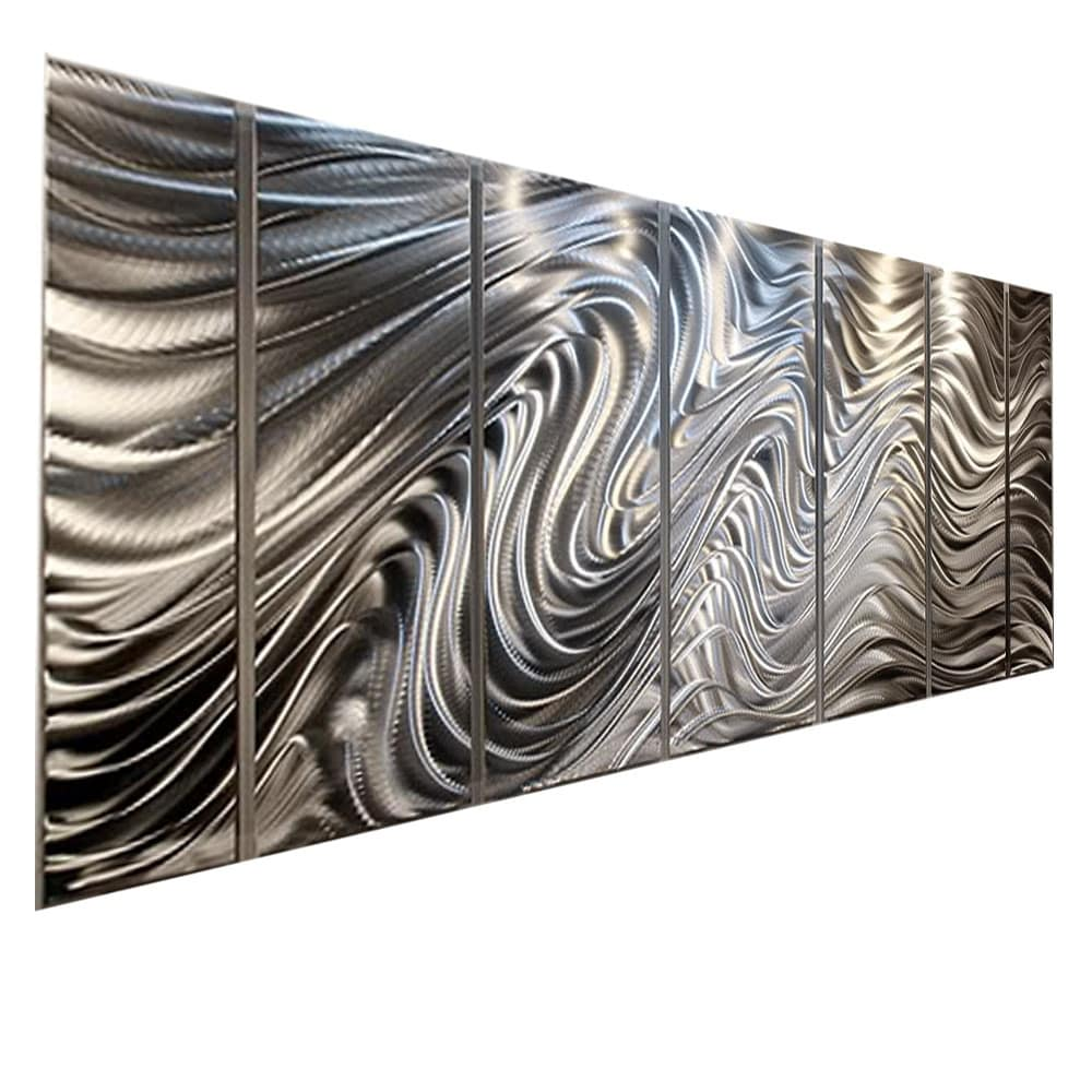 Beau Statements2000 Silver 7 Panel Metal Wall Art Sculpture By Jon Allen    Hypnotic Sands