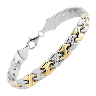 Zigzag Link Bracelet in 14K Gold-Bonded Sterling Silver - Two-tone