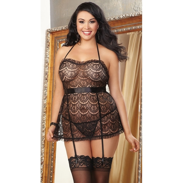 274c97cfe2e Shop Plus Size Eyelash Lace Apron Babydoll - Black - Queen - Free Shipping  On Orders Over  45 - Overstock - 20351824