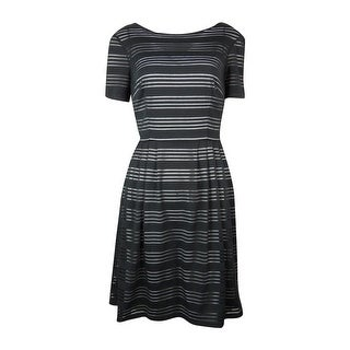 Signature Women's Cap Sleeve Mesh Inset Pleated A-Line Dress - 4P
