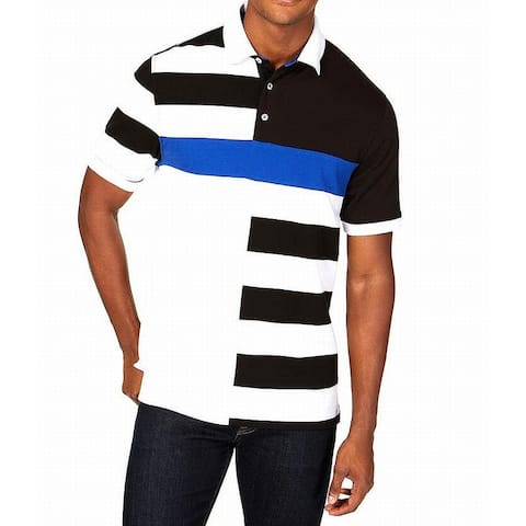 753b6f23b Club Room White Blue Black Men 3XL Colorblock Polo Stretch Shirt