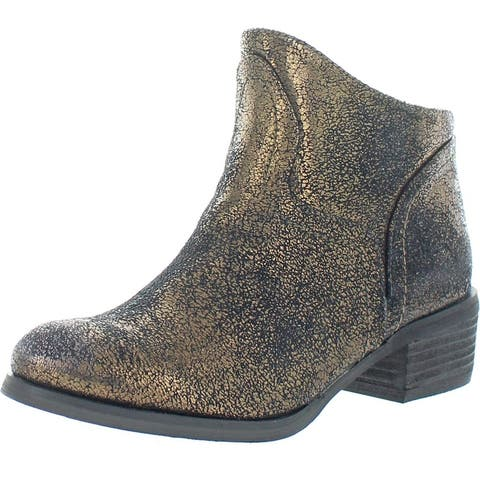Not Rated Women's Sagitta Faux Leather Crackled Metallic Block Heel Ankle Bootie