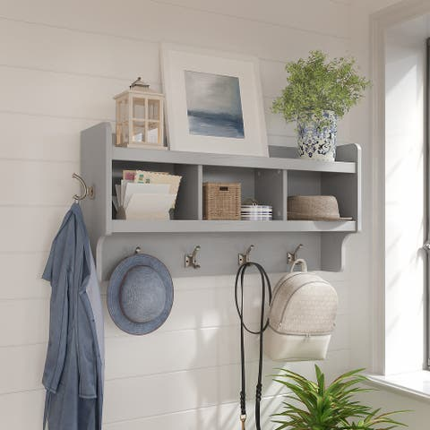 Woodland 40W Wall Mounted Coat Rack with Shelf by Bush Furniture