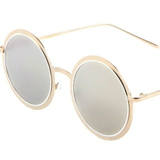 Retro Lennon Style Round Sunglasses Mirror Lens, 49mm