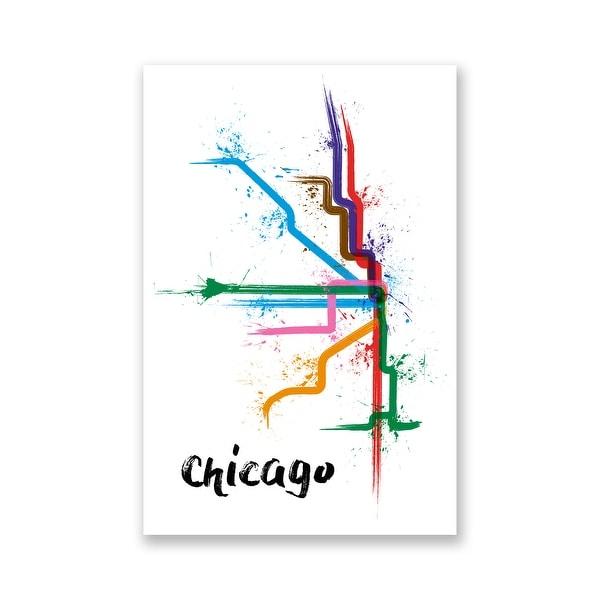 Chicago Splatter Train Maps Matte Poster 16x24