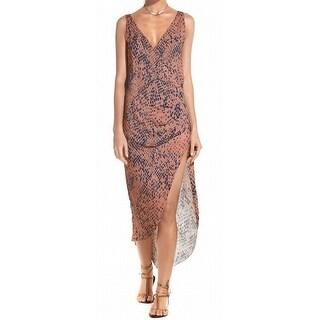 Vix NEW Pink Women's Size Medium M Snake-Print Maxi Dress Cover-Up