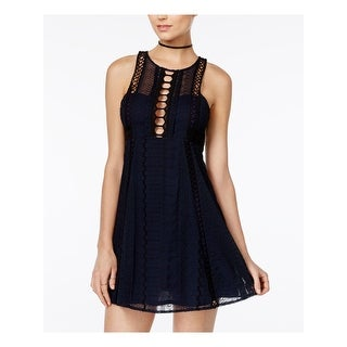Link to FREE PEOPLE Womens Navy Sleeveless Mini Fit + Flare Dress  Size 4 Similar Items in Dresses